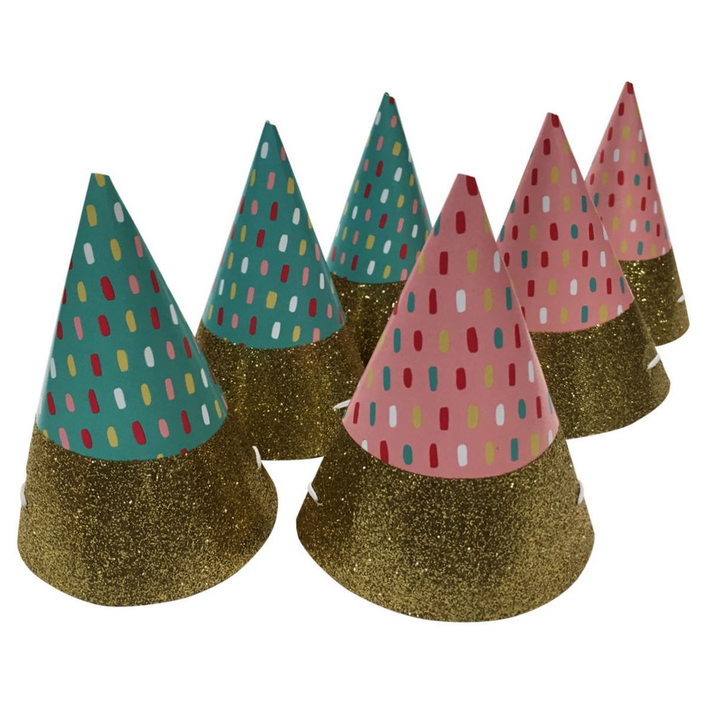 Image of 6ct Pink & Blue Mini Party Hats - Spritz