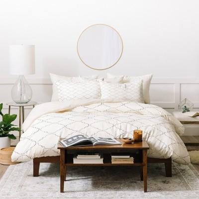 Full/Queen Geometric Hadley Hutton Dotty Gray Duvet Cover Set White - Deny Designs