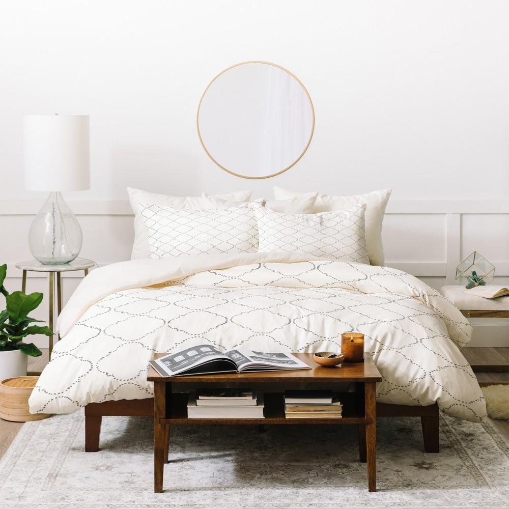 Twin/Twin XL Geometric Hadley Hutton Dotty Gray Duvet Cover Set White - Deny Designs, White Gray