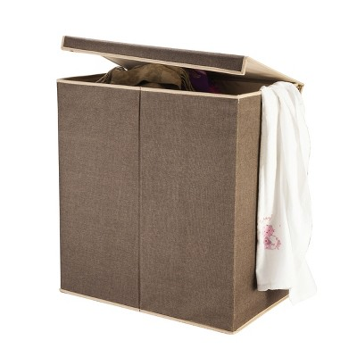 7250 Hastings Home Double Laundry Hamper Two Compartment Sorter with Magnetic Lid, Brown