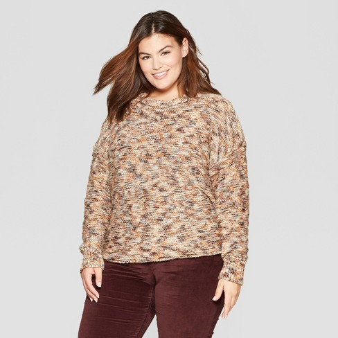 Womens Plus Size Long Sleeve Subtle Shine Pullover Sweater