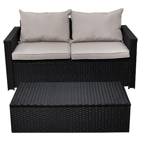 Laguna 2pc All Weather Wicker Patio Storage Sofa Coffee Table Black Serta Target