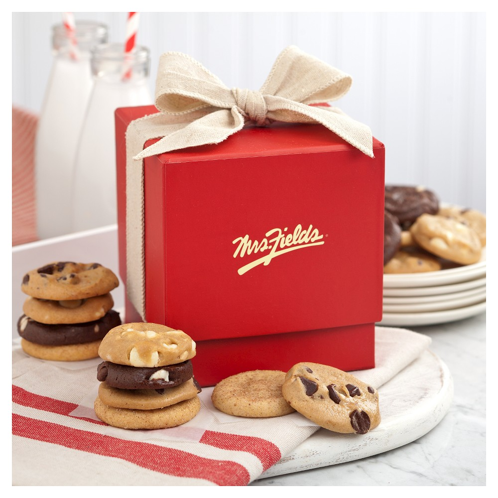 Mrs. Fields Classic Mini Ribbon Box With 18 Nibbler Bite Sized Cookies