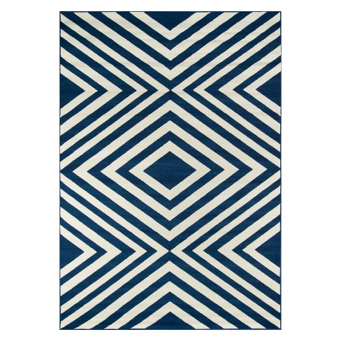Navy Indoor/Outdoor Geometric Rug - image 1 of 4
