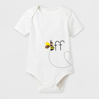 Baby 'BFF' Bee Graphic Bodysuit - Cat & Jack™ Almond Cream 0-3M