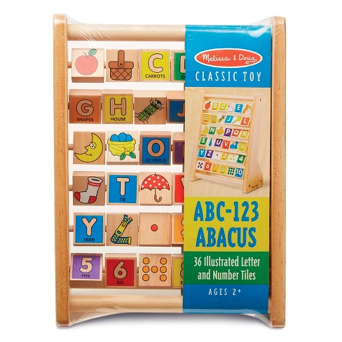 Melissa & Doug® ABC-123 Abacus - Classic Wooden Educational Toy With 36 Letter and Number Tiles - image 1 of 6