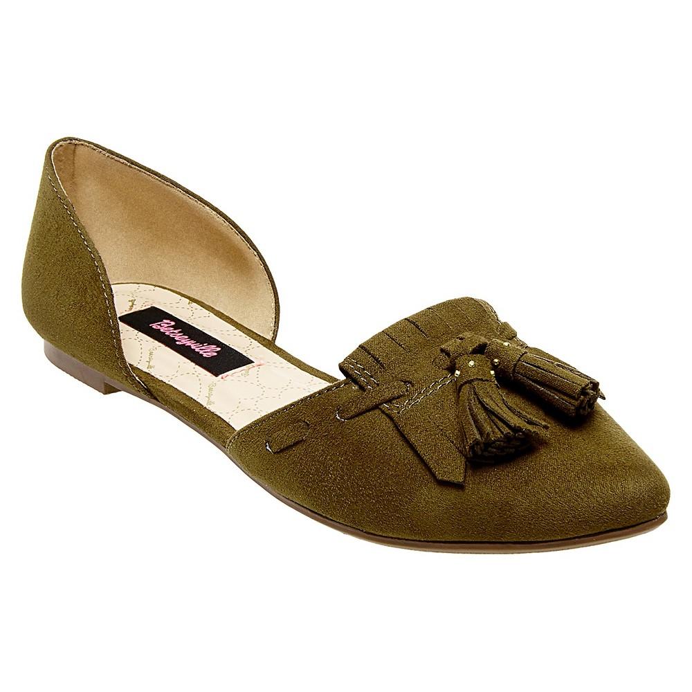 Women's Betseyville Inked Tassel D'Orsay Pointy Toe Flats - Olive (Green) 10