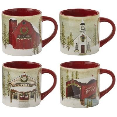 Park Designs Vintage Hometown Mug Set - Red