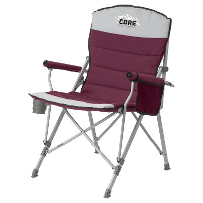 CORE 300 Pound Capacity Polyester Padded Hard Arm Chair with Carry Bag, Wine