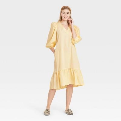 Women's Long Sleeve Ruffle Hem Dress - A New Day™