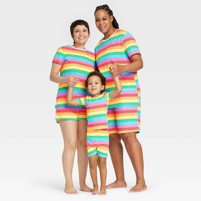 Striped Matching Family Pajamas Collection - Rainbow