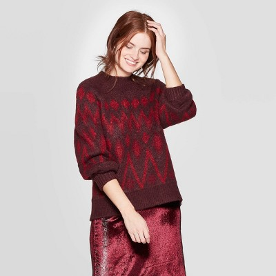Women's Fair Isle Print Crewneck Long Sleeve Pullover Sweater   A New Day™ by A New Day