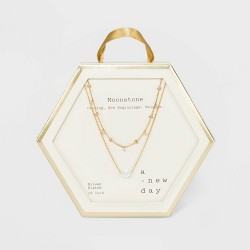 Silver and Gold Plated Healing Stone Station Duo Necklace - A New Day™