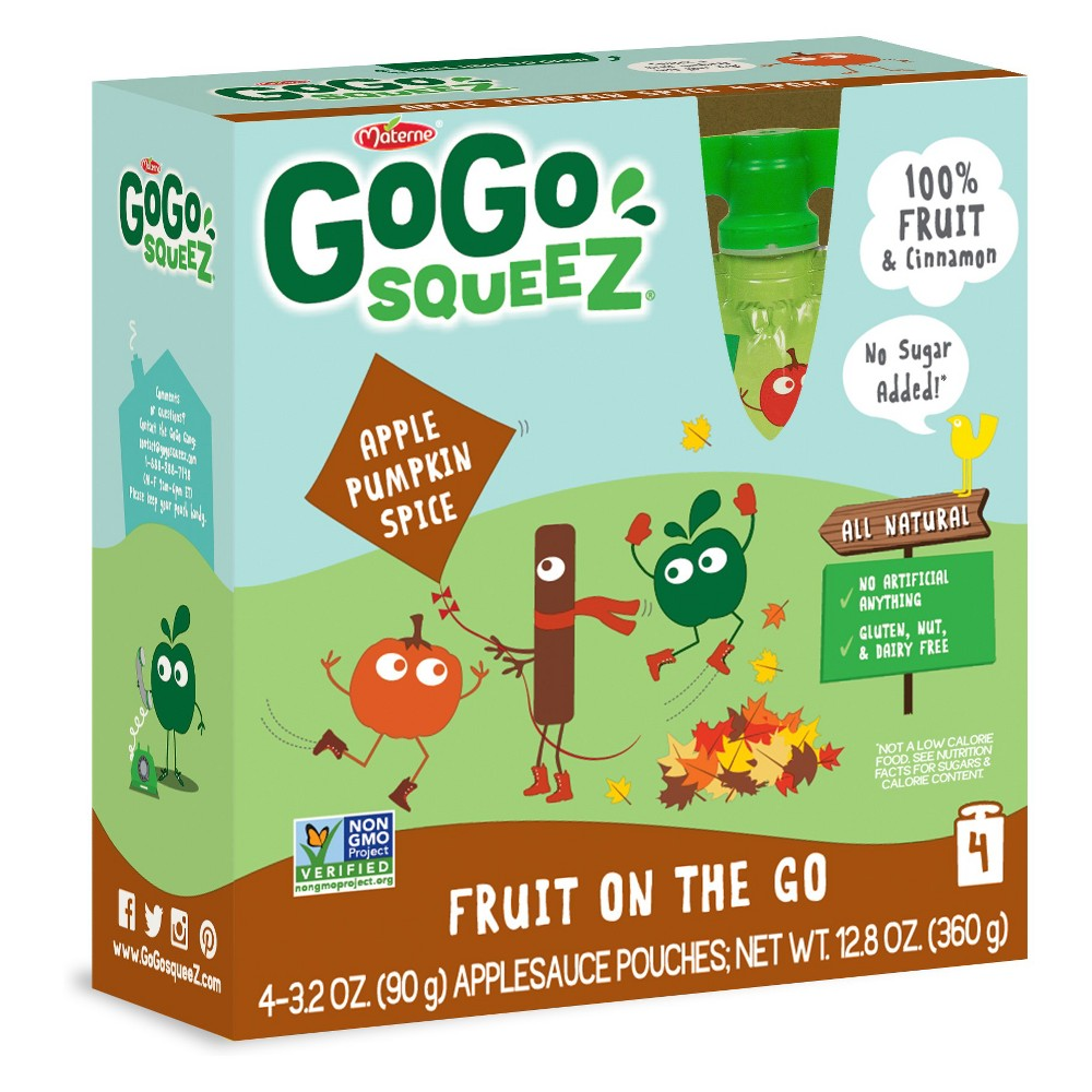 Gogo Squeez Applesauce On The Go Apple Pumpkin Spice Pouc...