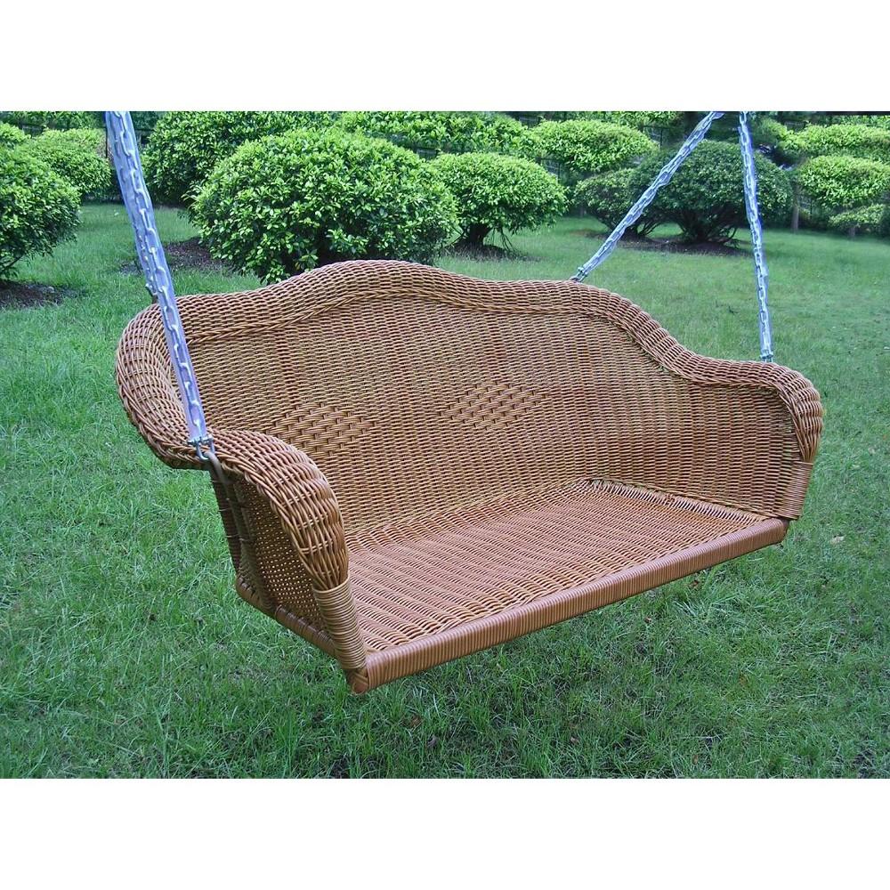 Image of International Caravan Chelsea Wicker Hanging Porch Swing - Brown