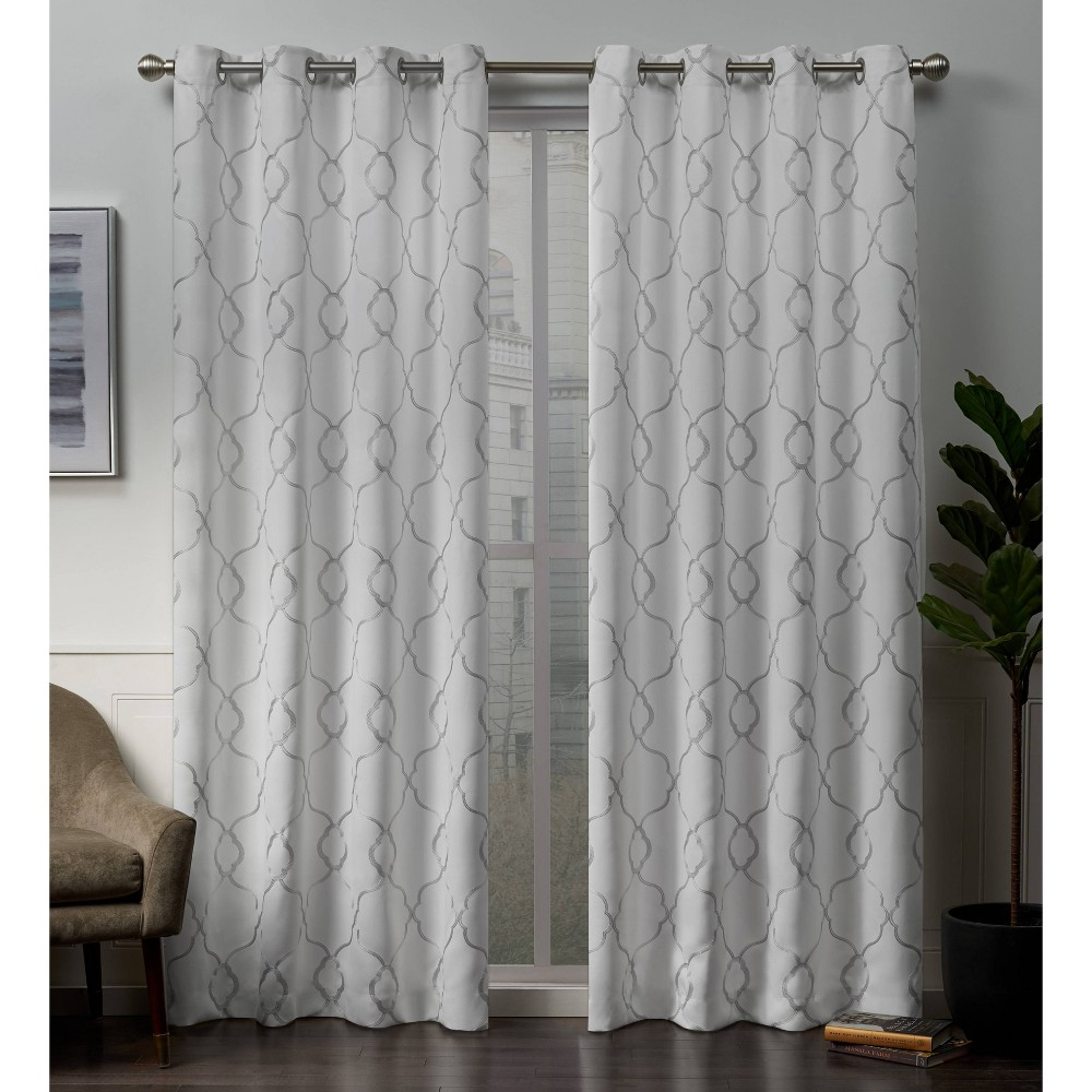 52x84 Belmont Embroidered Grommet Top Blackout Window Curtain Panels White - Exclusive Home