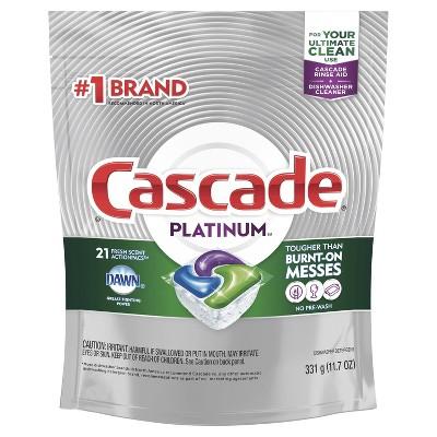 Cascade Platinum ActionPacs Dishwasher Detergent - Fresh Scent - 21ct