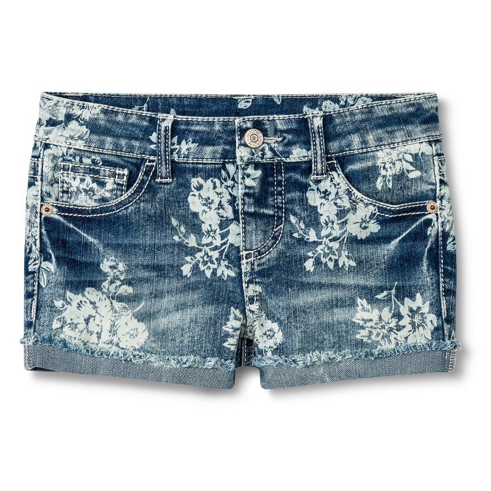 Girls' Floral Jean Shorts - Denim Blue XS