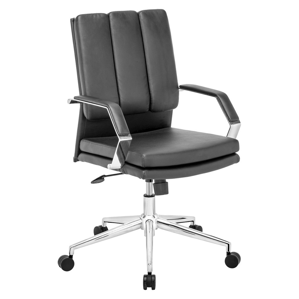 Modern Faux Leather and Chrome Steel Adjustable Office Chair - Black - ZM Home