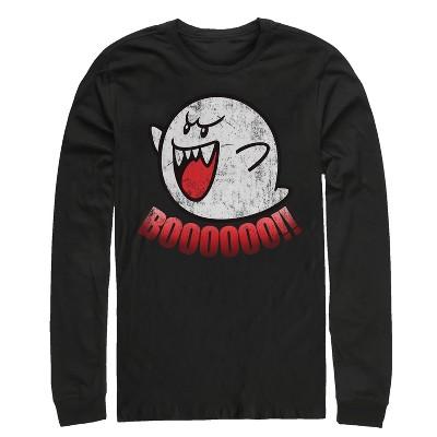Men's Nintendo Retro Boo Ghost Long Sleeve Shirt
