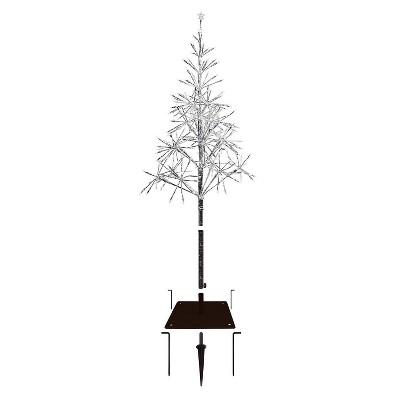 5ft Alpine Silver Artificial Christmas Tree with Warm White LED Lights Silver