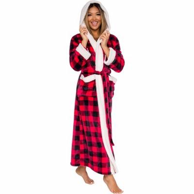 Silver Lilly Womens Buffalo Plaid Sherpa Holiday Robe with Hood