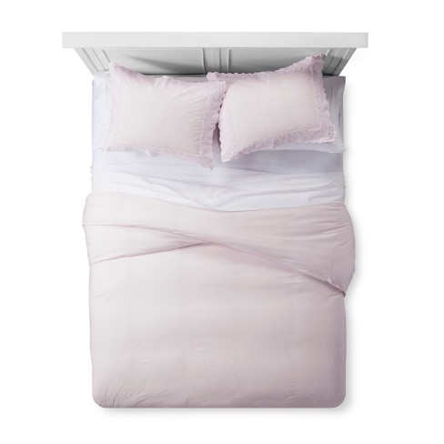 Pink Embroidered Border Duvet & Sham Set - Simply Shabby Chic® - image 1 of 4