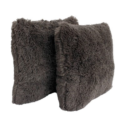2pk Charcoal Chubby Faux Fur Pillow Gray - Décor Therapy