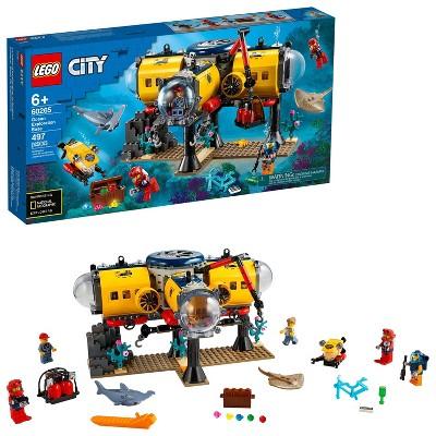 LEGO City Ocean Exploration Base Marine Toy with Underwater Base and Submarine 60265