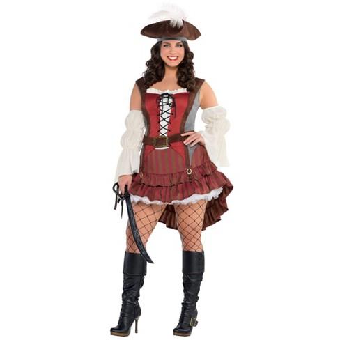 Women's Plus Castaway Pirate Halloween Costume - image 1 of 1