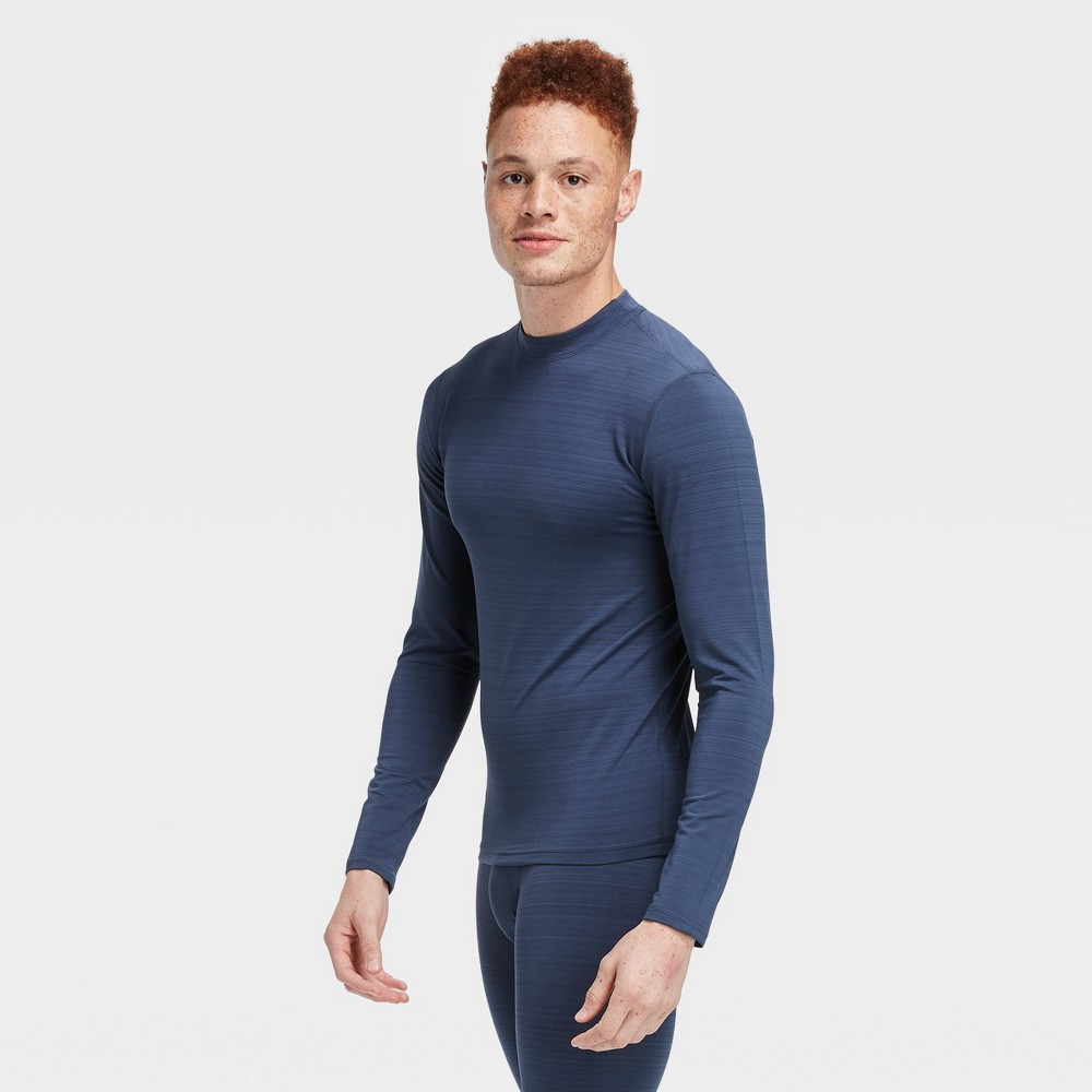 Men's Long Sleeve Fitted Cold Mock T-Shirt - All in Motion Navy S, Blue was $22.0 now $11.0 (50.0% off)