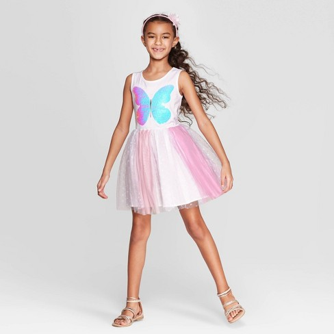 90215dd74f Girls  Flip Sequin Butterfly Dress - Cat   Jack™ White   Target