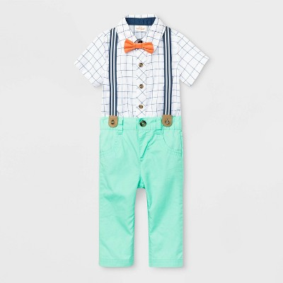 Baby Boys' Plaid Suspender Top & Bottom Set - Cat & Jack™ White/Mint 3-6M