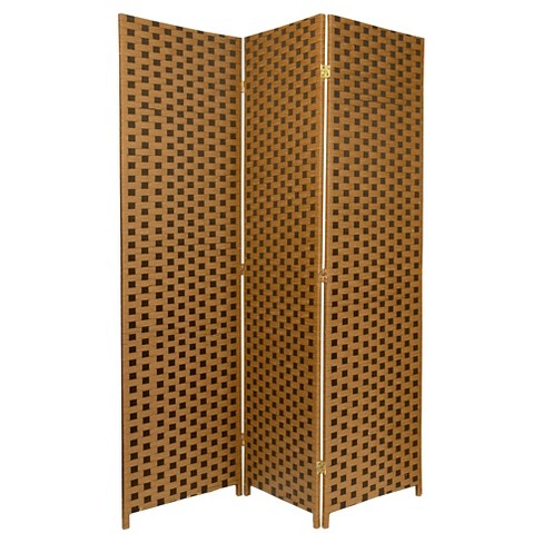 6 Ft Tall Woven Fiber Room Divider Two Tone Brown 3 Panel Oriental Furniture Target