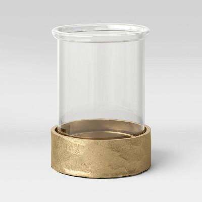 "9"" x 6"" Glass and Metal Pillar Hurricane Candle Holder Gold - Threshold™"