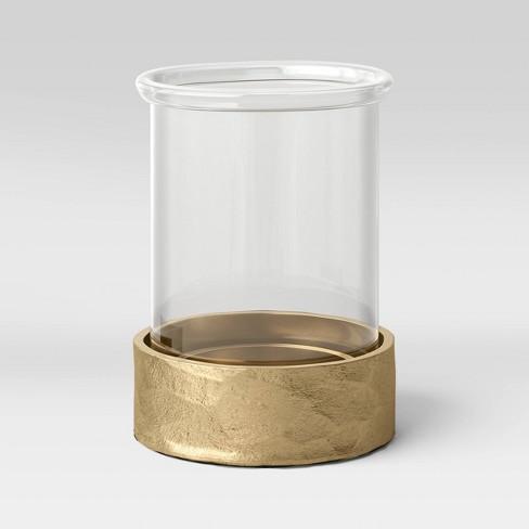 9 X 6 Glass And Metal Pillar Hurricane Candle Holder Gold Threshold Target