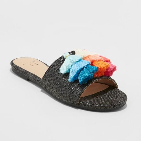 Women's Ayana Raffia Tassle Slide Sandals - A New Day™ - image 1 of 10