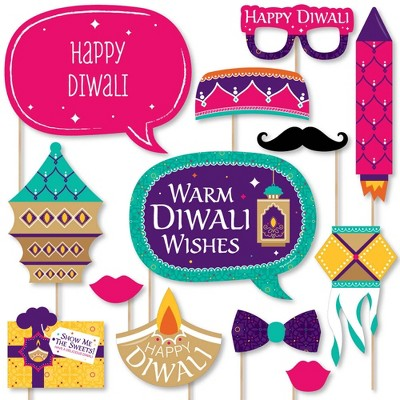 Set of 20 Festival of Lights Party Water Bottle Sticker Labels Big Dot of Happiness Happy Diwali