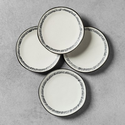 4pk Appetizer Plate Embossed Black / White - Hearth & Hand™ with Magnolia