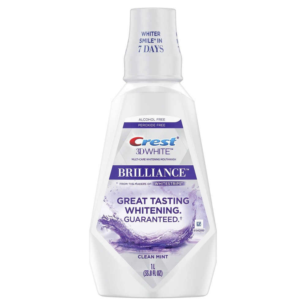 Image of Crest 3D White Brilliance Alcohol Free Whitening Clean Mint Mouthwash - 33.8 fl oz