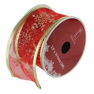 """Northlight Club Pack of 12 Cranberry Red and Gold Snowflakes Christmas Craft Ribbon 2.5"""" x 120 Yards"""