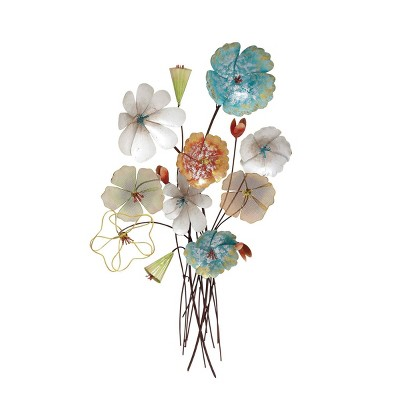 "37"" Eclectic Iton Flower Bouquet Wall Sculpture - Olivia & May"