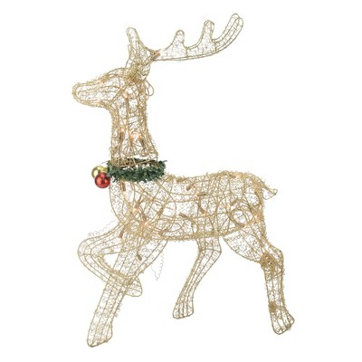 "Northlight 25"" Gold Lighted Prancing Reindeer Outdoor Christmas Decor"