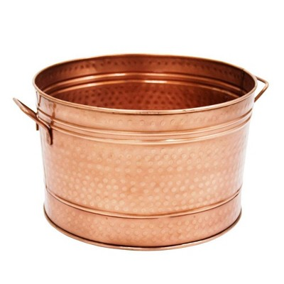 """16.25"""" Round Hammered Tub with 2 Side Handles Copper Plated - ACHLA Designs"""