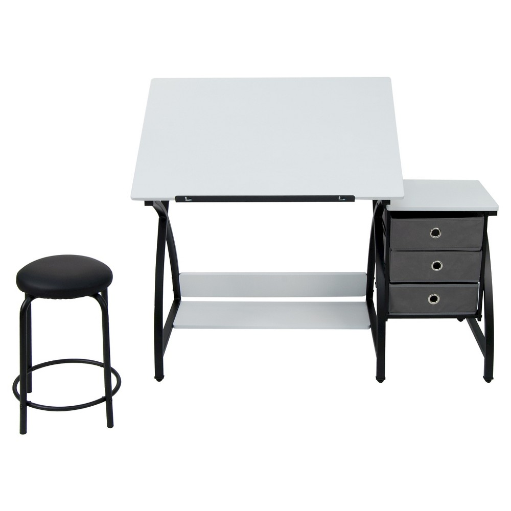 Comet Craft Table with Stool - Black/White