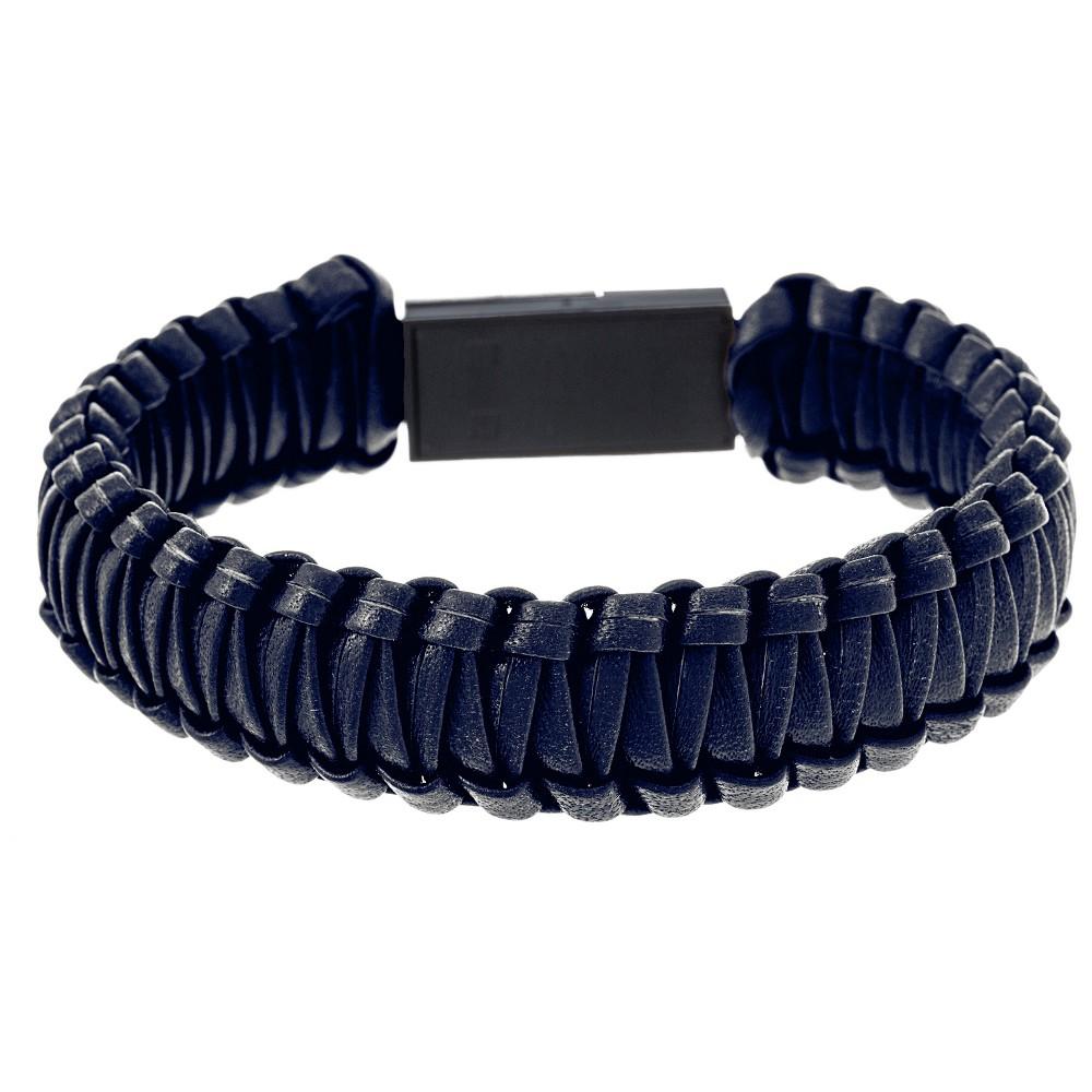 Image of Silver-Tone Stainless Steel Men's Blue Leather Interlocked Usb Port Bracelet, Silver