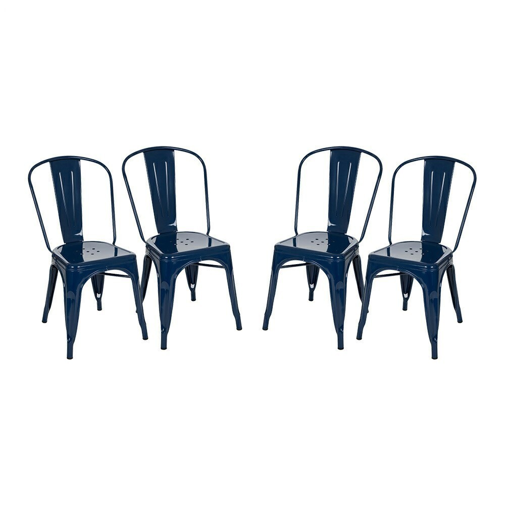 Set of 4 Vintage High Back Metal Dining Chair - Navy (Blue) - Glitzhome