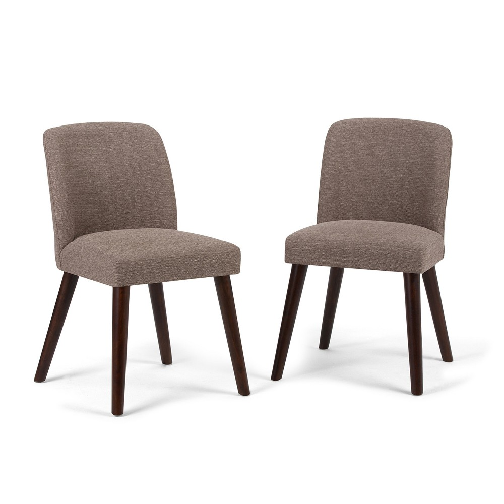Adelia Dining Chair Set of 2 Fawn Brown Linen Look Fabric - Wyndenhall