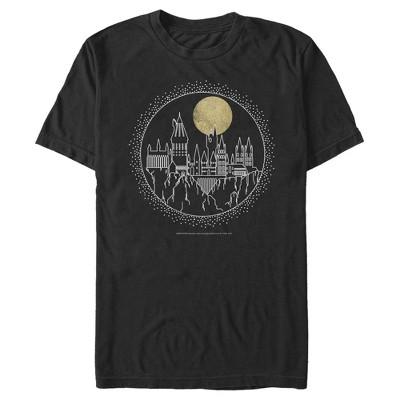 Men's Harry Potter Hogwarts Line Art Moonrise T-Shirt