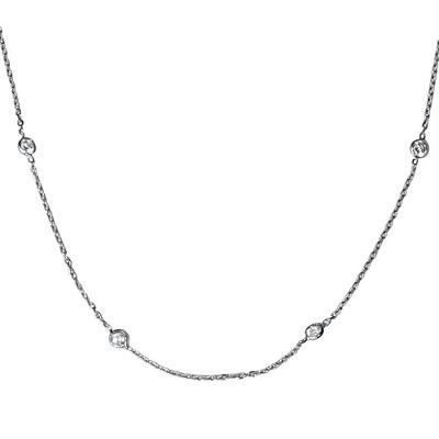 "Pompeii3 1ct Diamonds Bezel Station 18"" 14K White Gold Womens Necklace"
